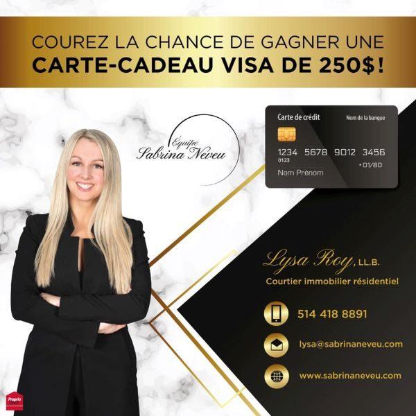 Concours Gagnez Une Carte Cadeau Visa De 250$!