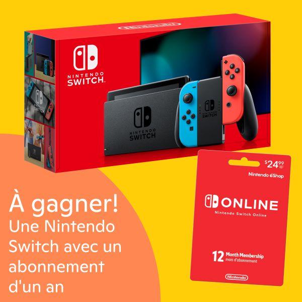 Concours Gagnez Une Console Nintendo Switch Et Un Abonnement D'un An à Nintendo!