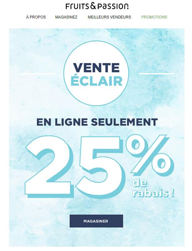 Vente éclair 25% De Rabais !